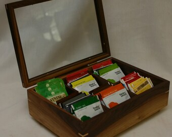 Tea Box with a glass top and 6 divided sections - Walnut #430