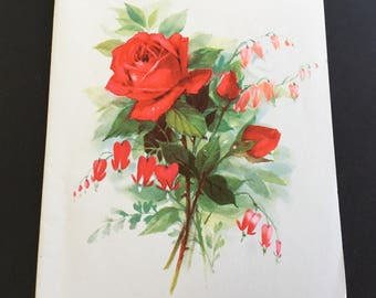 Vintage Birthday Greeting Card, Red Roses & bleeding hearts, Forget me not