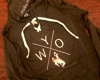 X Wyo Charcoal Gray Lace Up Hoodie