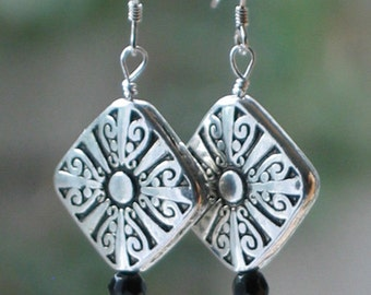 Silver and Onyx Art Deco Style Earrings