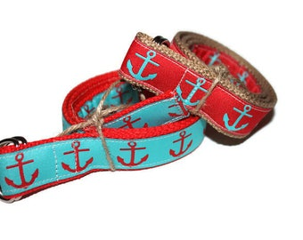 Children's Coral and Turquoise Anchor Belt- Custom Ribbon
