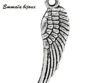 5 pendants wing 30 x 10 mm metal silver