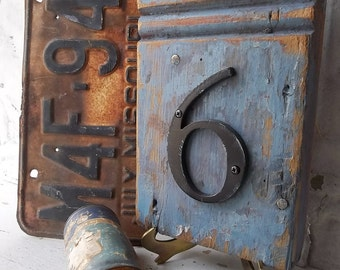 French Country Blue. Shabby Antique Architectural Prim Rustic Wood Plinth. No.6 Salvaged Address Sign  by 3 Vintage Hearts