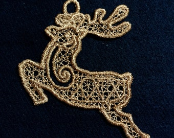 Reindeer Embroidered Free Standing Lace