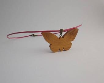 if and pink leather Butterfly pendant