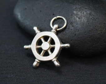 Nautical Sterling Silver Ship Wheel Pendant, Captains Wheel Necklace, Nautical Jewelry, Sterling Silver Nautical Pendant, Ship Wheel Charm