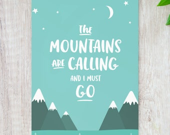 Wanderlust // Wanderlust Gift // Mountain Print // Travel Poster // The Mountains Are Calling // Travel Gifts // Travel Quote // Skiing //