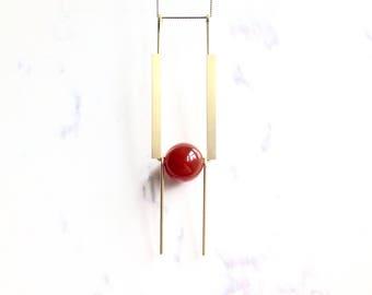 Carnelian Brass Necklace, Pillar, By Loop Jewelry, Architectural Jewelry, Red, Necklace, Geometric, Art Deco, Portland Jewelry, Rock N Roll