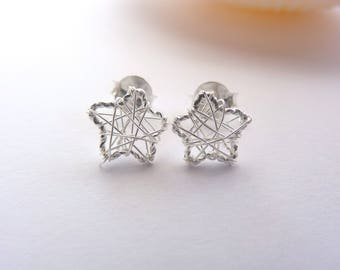 Sterling Silver Lace Star Earrings