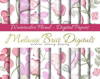 FLORAL WATERCOLOR, digital paper pack, scrapbook papers, hand painted papers, elegant floral paper, watercolor flowers, printable papers