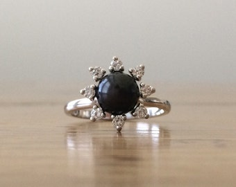 Black Pearl Ring - Pearl and Diamond Ring - Gold Pearl Ring - Gold Diamond Ring - Gift for Her