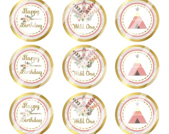 INSTANT DOWNLOAD / Wild One Birthday Girl / Pink, White & Gold/ Digital Bottle Cap Image Sheet / 1 Inch Circles / 4x6 Collage Sheet /# BC166
