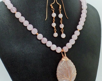 Rose Pink Quartz Tree of Life Necklace Earrings Set Natural Stone Jewelry