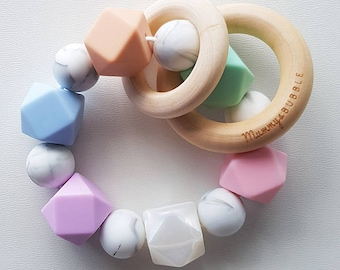 Custom Hex Teether, Teething Rattle, Baby Rattle, Silicone Teether, Wood Rattle