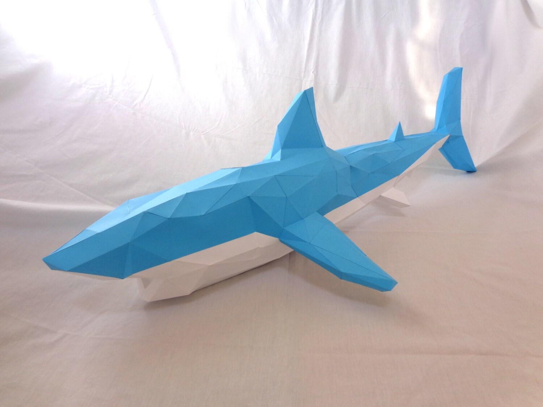 shark papercraft pdf pack d paper sculpture template  🔎zoom