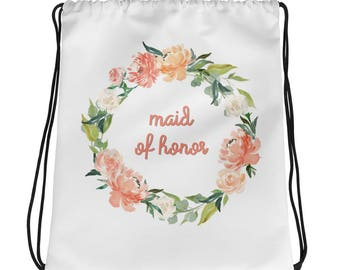 Maid of Honor Bridal Party Gift Drawstring bag