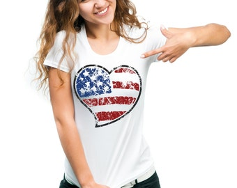 USA Heart Flag Cool Patriotic T-shirt Tee Shirt  Woman Top Tee Shirt