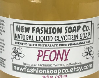 PEONY LIQUID Glycerin Soap,luxurious, gentle on your hands, parabens, detergents and phthalate free,no synthetic colors, Hostess favors