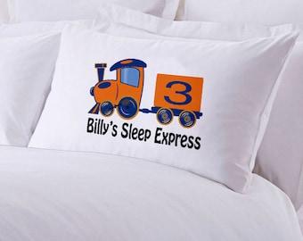 """Monogrammed Train Pillowcase 30"""" x 20"""""""