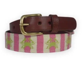 Crab Needlepoint Pink Belt-