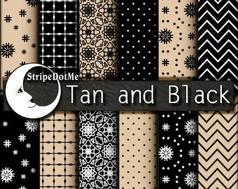 Digital Paper Tan, Black and White Polka Dots Stripes Chevron Check 12 Papers - Instant Download - Commercial Use 00061