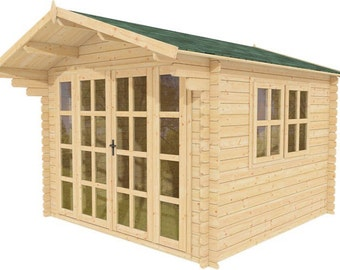 """Pre-fabricated natural wood cabin kit """"BELMONT""""."""