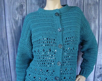 Crochet Cardigan, Cardigan Women, Crochet Cardigan Women, Turquoise Cardigan, Cotton Cardigan, Teal Cardigan, Gift for Her, Available in M/L