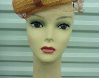 40s-50s Natural Straw Tilt Hat...w/ Net (holes)