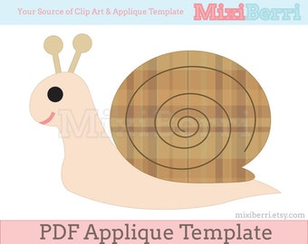 Snail Applique Template PDF Instant Download