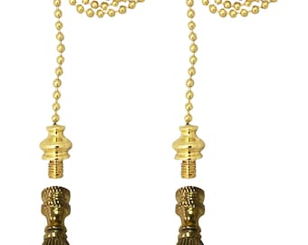 Royal Designs Fan Pull Chain with Vase Shaped Finial – Polished Brass