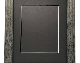 """22x28 1.75"""" Rustic Black Solid Wood Picture Frame with Black Mat Cut for16x20 Picture"""