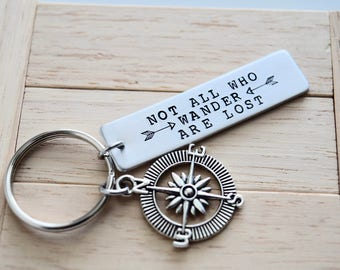Not All Who Wander Are Lost Key Chain with Compass Charm~Zipper Pull~Accesories