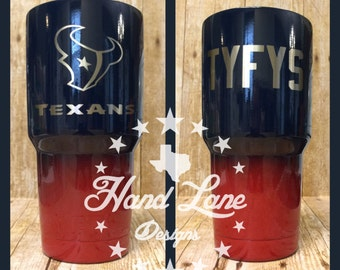 Custom Powder Coated Houston Texans YETI/HOGG/rtic/OZARK Tumbler 20oz or 30oz
