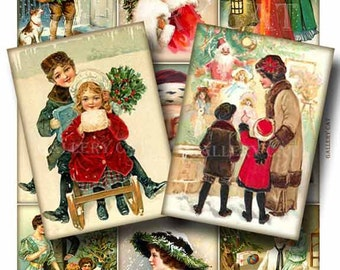 CHRISTMAS HOLIDAY Digital Collage Sheet Instant Download Paper Crafts Card Decoupage Original Whimsical Altered Art by GalleryCat CS105