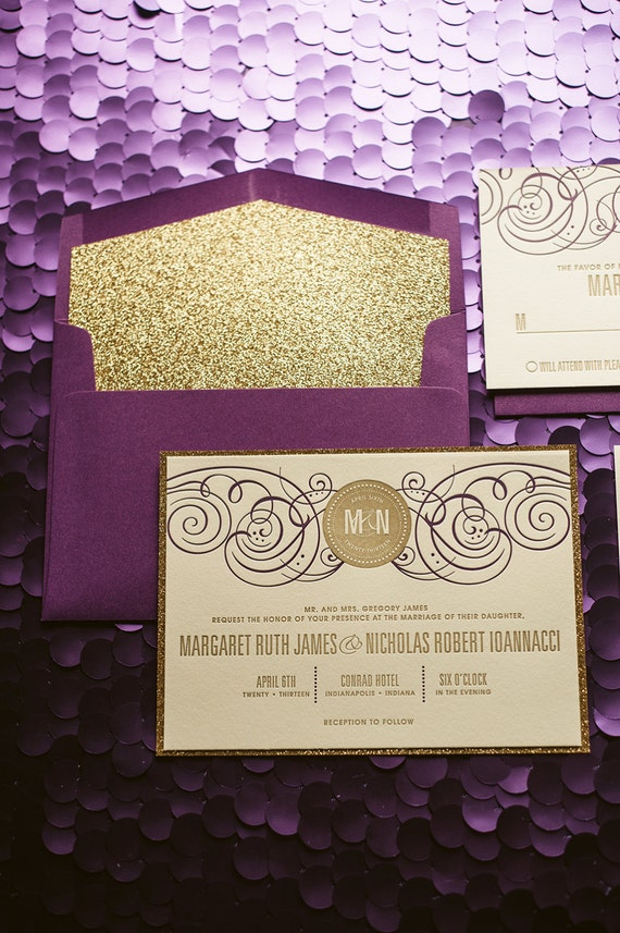 Purple & Gold Glitter Letterpress Wedding Invitation Gold