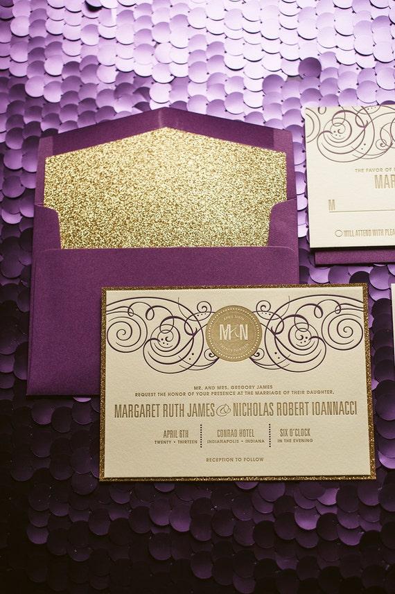 Purple & Gold Glitter Wedding Invitation Gold Glitter Wedding