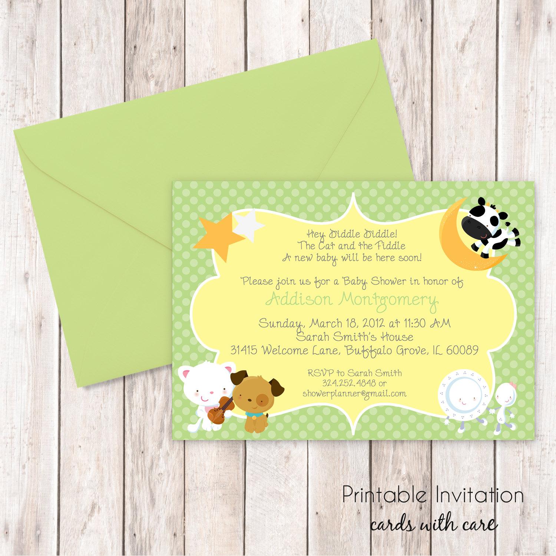 Nursery Rhymes Baby Shower Invitation Printable Invitation