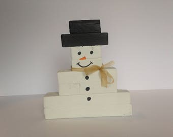 Painted wood snowman, Christmas decoration, Ornament, Reclaimed wood, Hand painted, Hand made, Winter