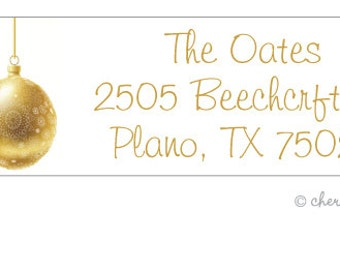 Gold ornament address labels - set of 75