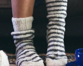 Men's & Women's Hand Knit sheep wool cream white grey striped socks - Fall fashion ~ great slippers or walking boots