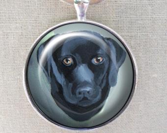 Noir porte-clé Lab ~ laboratoire propriétaire cadeau ~ chien ornement ~ Labrador Retriever ~ April Birthday ~ Labrador peinture