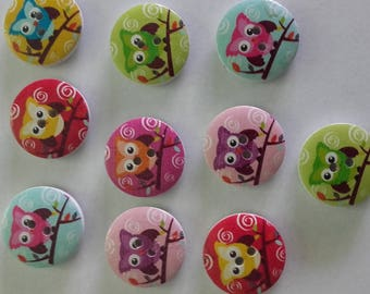 Set of 10 owls pattern wooden buttons
