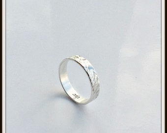 Simplicity II Sterling silver hammered textured ring your size  man woman