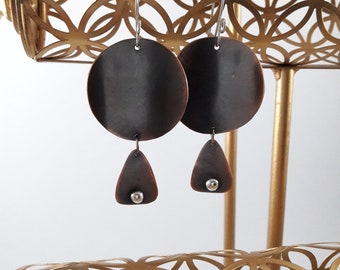 Geometric Copper Dangle Earrings Birthday Gift For Her.Mixed Metal Earrings.Handmade Dangle Earrings.Round Copper Earrings With Triangles