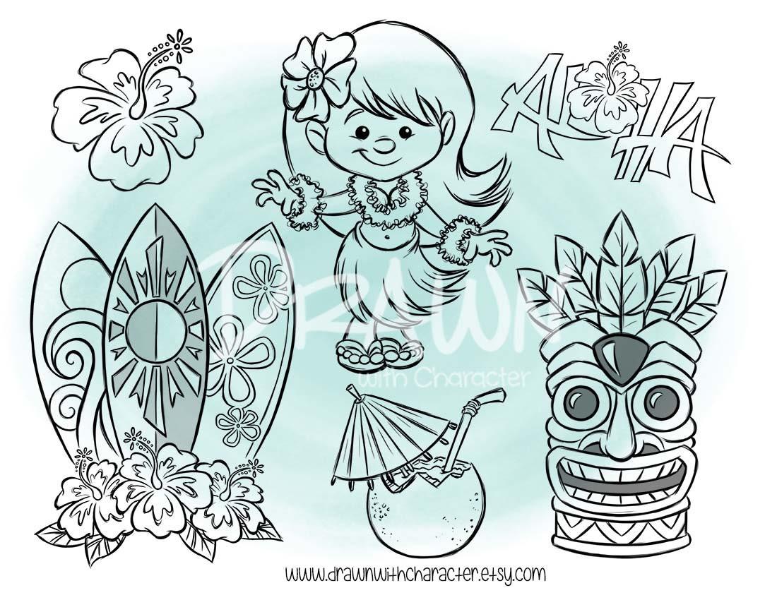 Hawaii Set digitalen Stempel Kunst / KopyKake Bild Hula
