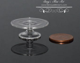 1:12 Dollhouse Miniature Cake Stand, Clear Glass BD HB260