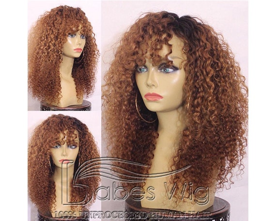 Ombre Kinky Curly Wig Human Hair Wigs Glueless Full Lace Wigs