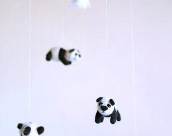 Panda mobile - nursery mobile - kids mobile - bear mobile - felted mobile - animal mobile
