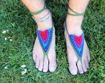 Barfuss Sandalen - Juwel Töne - Erdung, Erdung Sandalen