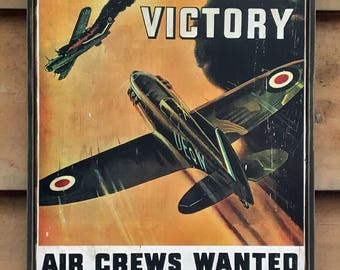 Vintage wooden sign 'On To Victory RAAF'. WW2 Reproduction